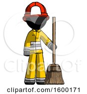 Black Firefighter Fireman Man Standing With Broom Cleaning Services