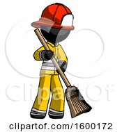 Black Firefighter Fireman Man Sweeping Area With Broom