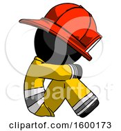 Black Firefighter Fireman Man Sitting With Head Down Facing Sideways Right