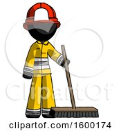 Black Firefighter Fireman Man Standing With Industrial Broom