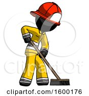 Black Firefighter Fireman Man Cleaning Services Janitor Sweeping Side View