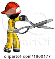 Black Firefighter Fireman Man Holding Giant Scissors Cutting Out Something