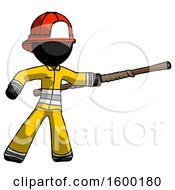 Black Firefighter Fireman Man Bo Staff Pointing Right Kung Fu Pose