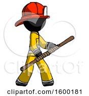 Black Firefighter Fireman Man Holding Bo Staff In Sideways Defense Pose