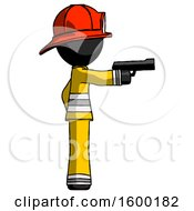 Black Firefighter Fireman Man Firing A Handgun