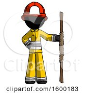 Black Firefighter Fireman Man Holding Staff Or Bo Staff
