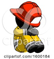 Black Firefighter Fireman Man Sitting With Head Down Facing Angle Right
