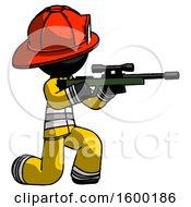 Black Firefighter Fireman Man Kneeling Shooting Sniper Rifle