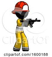 Black Firefighter Fireman Man Shooting Automatic Assault Weapon