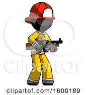 Black Firefighter Fireman Man Tommy Gun Gangster Shooting Pose