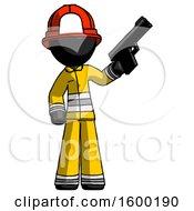 Black Firefighter Fireman Man Holding Handgun