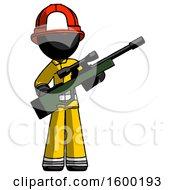 Black Firefighter Fireman Man Holding Sniper Rifle Gun