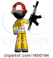 Black Firefighter Fireman Man Holding Automatic Gun