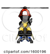 Black Firefighter Fireman Man Flying In Gyrocopter Front View