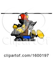 Black Firefighter Fireman Man Flying In Gyrocopter Front Side Angle View