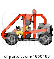 Poster, Art Print Of Black Firefighter Fireman Man Riding Sports Buggy Side View