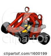 Black Firefighter Fireman Man Riding Sports Buggy Side Top Angle View