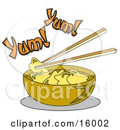 Chopsticks Lifting Food Out Of A Bowl Of Won Ton Soup Clipart Illustration