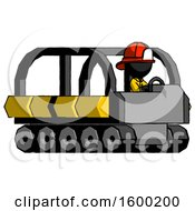 Black Firefighter Fireman Man Driving Amphibious Tracked Vehicle Side Angle View