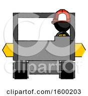 Poster, Art Print Of Black Firefighter Fireman Man Driving Amphibious Tracked Vehicle Front View