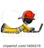 Black Firefighter Fireman Man Using Laptop Computer While Lying On Floor Side View
