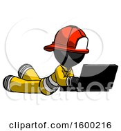 Black Firefighter Fireman Man Using Laptop Computer While Lying On Floor Side Angled View