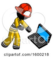 Black Firefighter Fireman Man Throwing Laptop Computer In Frustration