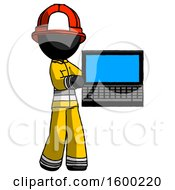 Black Firefighter Fireman Man Holding Laptop Computer Presenting Something On Screen