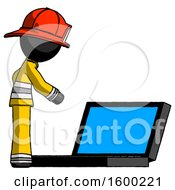 Poster, Art Print Of Black Firefighter Fireman Man Using Large Laptop Computer Side Orthographic View