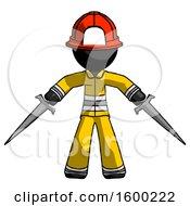 Black Firefighter Fireman Man Two Sword Defense Pose