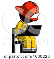 Poster, Art Print Of Black Firefighter Fireman Man Using Laptop Computer While Sitting In Chair Angled Right