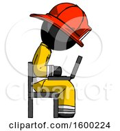 Poster, Art Print Of Black Firefighter Fireman Man Using Laptop Computer While Sitting In Chair View From Side