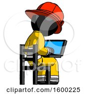 Poster, Art Print Of Black Firefighter Fireman Man Using Laptop Computer While Sitting In Chair View From Back
