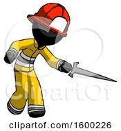 Black Firefighter Fireman Man Sword Pose Stabbing Or Jabbing