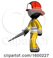 Black Firefighter Fireman Man With Sword Walking Confidently