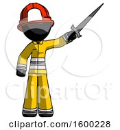 Black Firefighter Fireman Man Holding Sword In The Air Victoriously