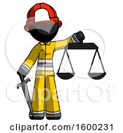 Black Firefighter Fireman Man Justice Concept With Scales And Sword Justicia Derived