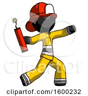 Black Firefighter Fireman Man Throwing Dynamite