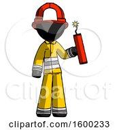 Black Firefighter Fireman Man Holding Dynamite With Fuse Lit
