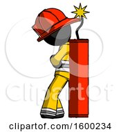 Black Firefighter Fireman Man Leaning Against Dynimate Large Stick Ready To Blow