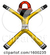 Poster, Art Print Of Black Firefighter Fireman Man With Arms And Legs Stretched Out