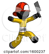 Poster, Art Print Of Black Firefighter Fireman Man Psycho Running With Meat Cleaver