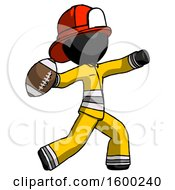 Black Firefighter Fireman Man Throwing Football