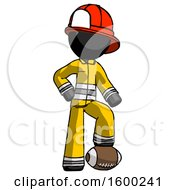 Black Firefighter Fireman Man Standing With Foot On Football