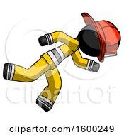 Black Firefighter Fireman Man Running While Falling Down