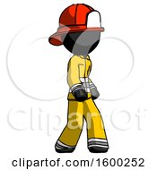 Black Firefighter Fireman Man Walking Turned Right Front View