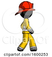 Black Firefighter Fireman Man Walking Right Side View