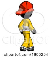 Black Firefighter Fireman Man Walking Away Direction Right View