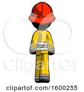 Black Firefighter Fireman Man Walking Away Back View