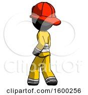 Black Firefighter Fireman Man Walking Away Direction Left View